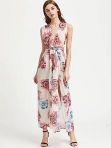 Plunging V-neckline Crisscross Tie Back M-Slit Chiffon Dress