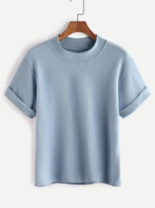 Mock Neck Cuffed Tee