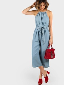 Plunging Denim Culotte Jumpsuit CHAMBRAY