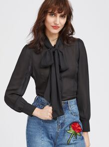 Bow Tie Neck Curved Hem Shirt