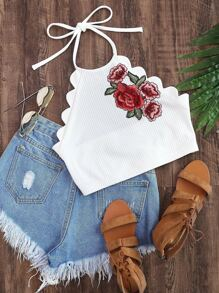 Embroidered Flower Applique Scallop Edge Ribbed Halter Top