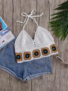 Geo Pattern Trim Crochet Halter Top