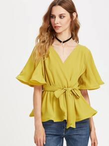 V-Neckline Ruffle Top With Self Tie