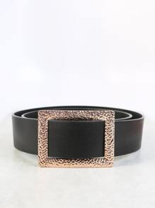 Faux Leather Slip On Belt BLACK