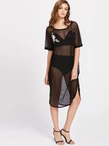 Blossom Embroidery Applique Dolphin Hem Mesh Dress