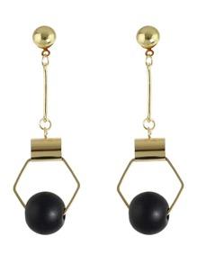 Black  Beads Gold Hanging Earrings