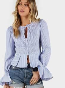 Striped Peplum Shirt BLUE