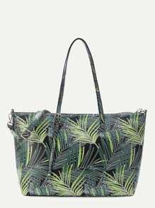Leaf Print PU Shoulder Bag With Adjustable Strap