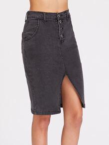 Single Breasted Slit Front Denim Skirt