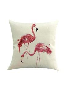 Double Flamingo Print Cushion Cover