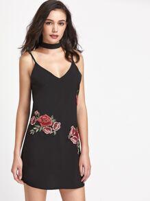 Rose Appliques Self Tie Slip Dress