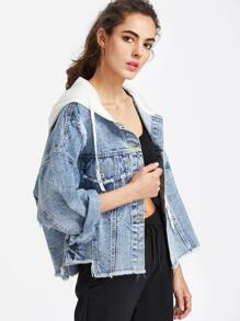 Ripped Hooded Raw Hem Denim Jacket