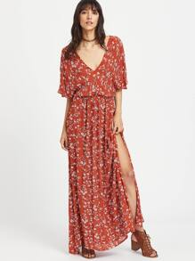 Plunging Tie Back Slit Ditsy Kimono Dress