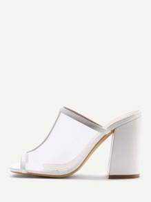 Peep Toe Block Heeled Mules