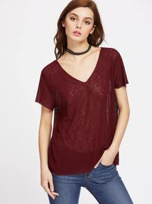 V Neck Semi Sheer Paper Thin Tee