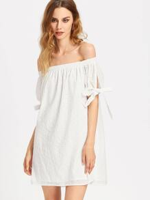 Split Tie Sleeve Eyelet Embroidered Bardot Dress