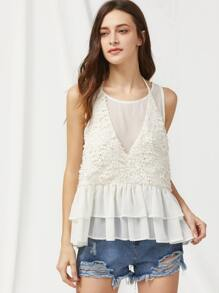 Applique Detail Layered Ruffle 2 In 1 Tank Top