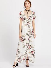 Botanical Print Surplice Front Self Belt Dress