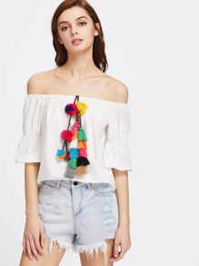Colorful Pom Pom And Tassel Embellished Bell Cuff Bardot Top