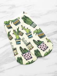Cactus Print Invisible Socks