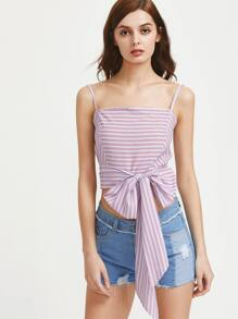 Striped Criss Cross Bow Tie Front Crop Cami Top