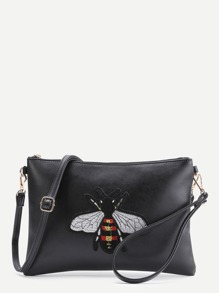 Bee Embroidery Patch Bag