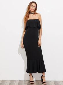 Frill Off Shoulder Fishtail Dress