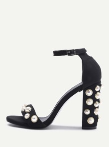 Faux Pearl Decorated Two Part Block Heel Sandals