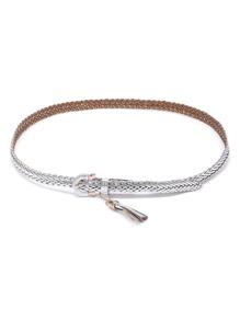 Metallic Faux Leather Woven Belt With Tassel