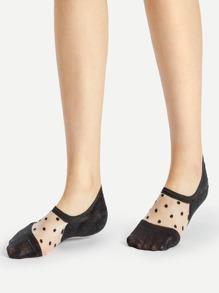 Polka Dot Mesh Detail Invisible Socks