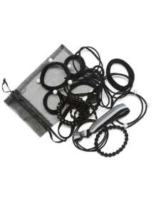 Faux Pearl Hair Tie 15pcs With Mesh Bag