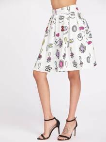Eyes Print Zipper Back Pleated Skirt