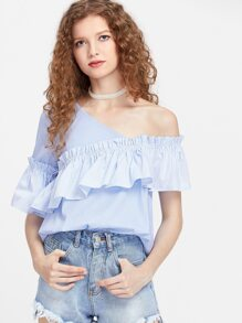 Asymmetric Off Shoulder Frill Trim Pinstripe Top