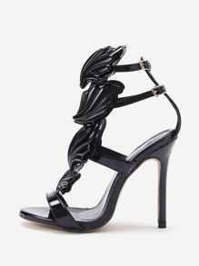 Metallic Leather Wings Heeled Sandals