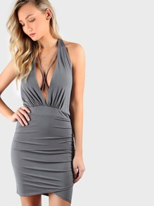 Plunging Halter Bodycon Backless Dress OLIVE