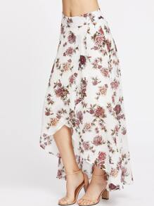 High-Low Hemlines Floral Skirt