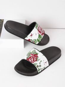 Flower Print Flat Sliders