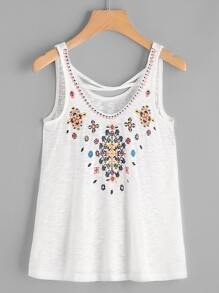 Embroidered Criss Cross Back Top