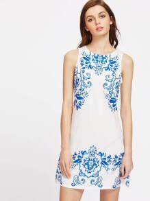 China Print Zipper Back Sleeveless Dress