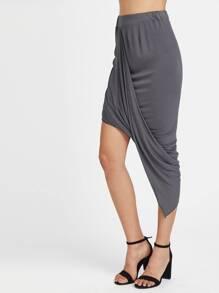 Gathered Hem Asymmetrical Skirt
