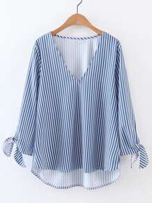 V-Cut Vertical Striped Tie Cuff High Low Blouse