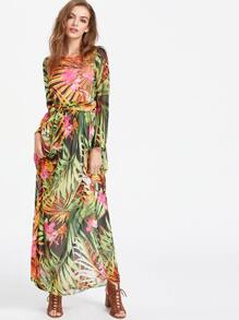 Tropical Print Self Tie Full Length Chiffon Dress