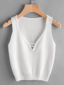 Plunging V-Neckline Ribbed Trim Tank Top