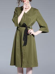 V Neck Drawstring A-Line Dress