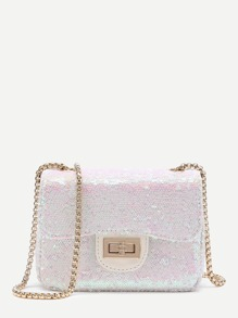 Sequin Overlay Twist Lock Crossbody Chain Bag