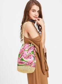 Watermelon Straw Bucket Bag With Strap