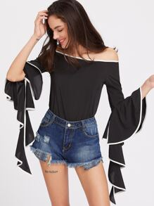 Bardot Contrast Trim Flare Sleeve Top