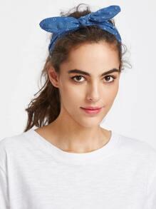 Bow Tie Denim Headband