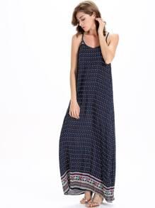 Tribal Print Full Length Slip Dress