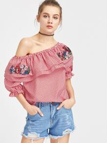 Flounce Layered Neckline Gingham Patches Top
